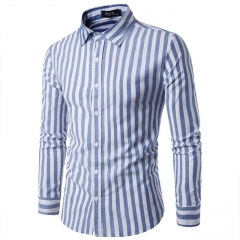 Men's shirt simple brown striped fashion wild men's casual long-sleeved lapel shirt blue m