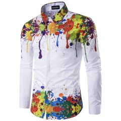 Men's autumn/winter print 3D long sleeve shirt picture color l