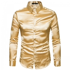 Men's shirt long-sleeved lapel casual fashion shirt Yellow s