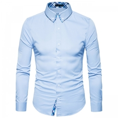 Men's Shirt Button Long Sleeve Collar Checkup White s