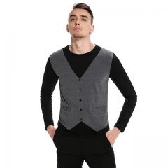 Men's long sleeve false two round neck t-shirt dark grey s