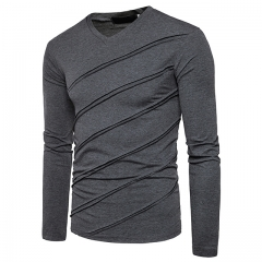 New European Fashion Folded Long Sleeve V Collar Pure T-Shirt dark grey s