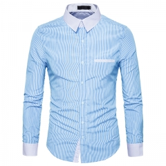 Men's stripes hit color lapel simple series long-sleeved shirt light blue s