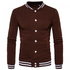 Men's mouth stripes hit color buttons jacket sweater baseball clothing Brown S