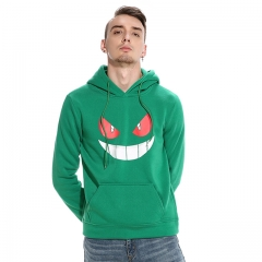 Men's chest smiley print hooded sweater green s