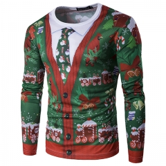 Christmas tree 3D fake two tie printing fashion men's 3D long-sleeved T-shirt as picture m