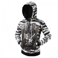 New fashion zebra skeleton 3D printing men's cardigan hooded sweater as picture m
