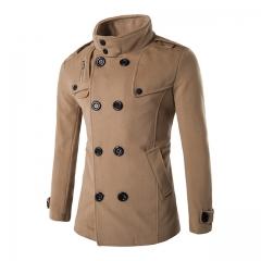 Men's personality double-breasted zipper collar collar woolen coat camel color m