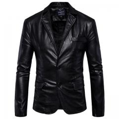 Men's British leather jacket black m