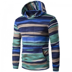 Men's striped camouflage hooded sweater jacket blue m