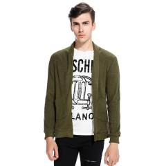 Men Long Sleeve Knit Cardigan Jacket ArmyGreen s