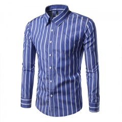 Men Stripe Shirts New Fashion Spring Autumn Cotton Casual Full Sleeve Shirts Slim Fit High Quality blue m
