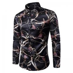 New fashion printed men's casual long-sleeved shirt Chain printing m