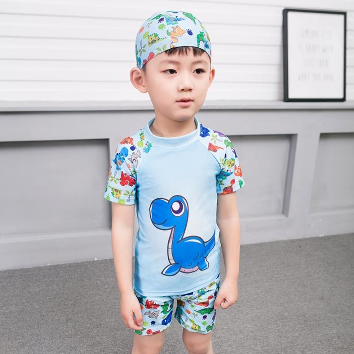 69be5474cd 2-13Y Child Little Boys Two Piece Swimsuit Swimwear Kids Boy Bathing Suit  blue L