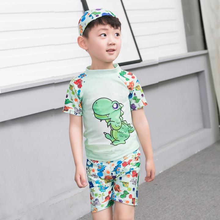 d17866c4b2 2-13Y Child Little Boys Two Piece Swimsuit Swimwear Kids Boy Bathing Suit  green 3XL