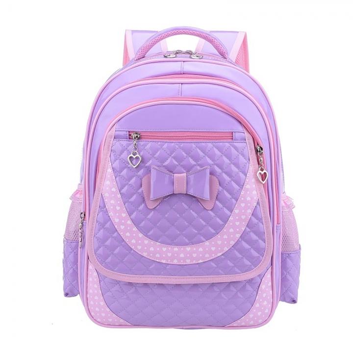 fc4c69babf6c Cute Girls Backpacks Satchel Children School Bags Orthopedic PU Waterproof  Backpack Child School Bag -Purple