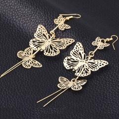 Fashion Punk Butterfly Earrings for Women Charm Drop Earrings Female gold one size