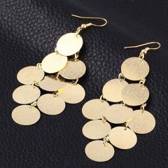 Metal Drop Earrings Luxury Geometry Round Long Pendant Wedding Earring For Women gold one size