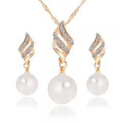 Fashion Women Necklace Earrings Jewelry Crystal Pearl Wedding Party Jewelry Sets gold one size
