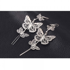 Fashion Punk Butterfly Earrings for Women Charm Drop Earrings Female silver one size