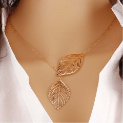 Women Jewelry Double Gold Silver Leaf Pendant Necklace Fashion Wedding Gift gold one size