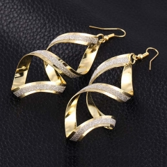 Vintage Spiral Shape Drop Earring Vintage Punk Long Pendant Wedding For Women gold one size