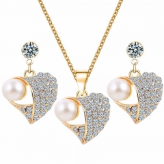Women Fashion Imitation Pearl And Rhinestone Jewelry Set Necklace Earring as picture one size