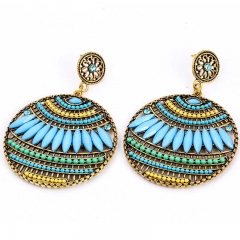 Bohemia Statement Drop Earrings Turkish Vintage Ethnic Jewelry Gift Women Party blue one size