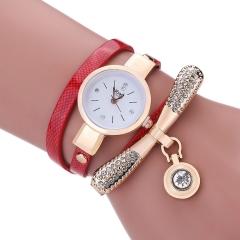 Women Girl's Leather Rhinestone Analog Quartz Wrist Watches red