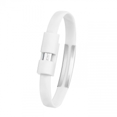 1pcs Wristband Micro USB Cable Charger Charging Data Sync For Android Cell Phone - white white