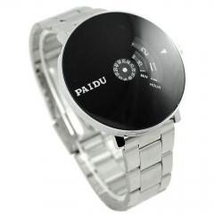 Men Stainless Silver Quartz Wrist Watch Fashion Dial Wristwatch Gift Watchband - silver as photo one size