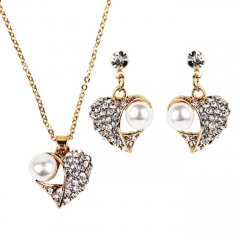 Women Elegant Vintage Heart-shaped Necklace Earrings Jewelry Set as photo free size