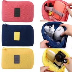 Portable Storage Bag Digital Gadget Devices USB Cable Earphone Bag dark blue