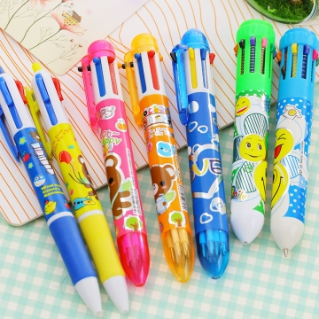 G2G  0.38mm 10 Colors Creative stationery cartoon cute portable multicolor ball pen wholesale press 10 Colors