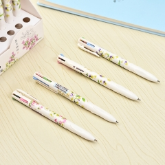 G2G 1piece 0.5mm Four color ballpoint pen idea beautiful flower pattern to study stationery supplies