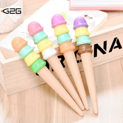 G2G 1PCS 0.5mm ice cream shape neutral pen Students' learning Office stationery random one size