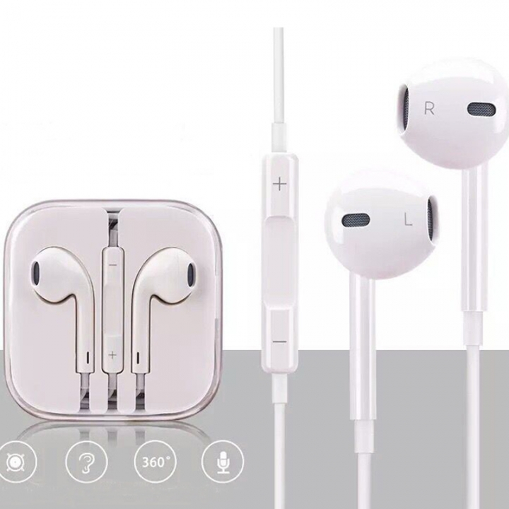 G2G 1set iPhone and android universal earphone with white line control mic white