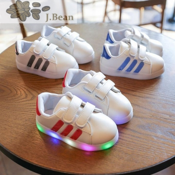 J.Bean Children's Shoes 2017 New Girls Light Board Shoes Boys Baby Leisure PU Shoes Black 21