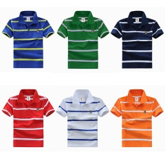 Big Boys Cotton Pure Color Clothing Children's Short Sleeve T-Shirt Kids Striped Polo Shirt Dark Blue 8