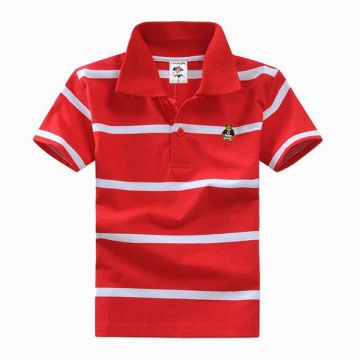 Big Boys Cotton Pure Color Clothing Children's Short Sleeve T-Shirt Kids Striped Polo Shirt Red 10