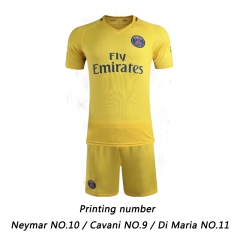 17-18 Paris Saint-Germain Neymar Cavani Di Maria Football jersey Soccer suit sportswear XL size Di Maria 11 Yellow