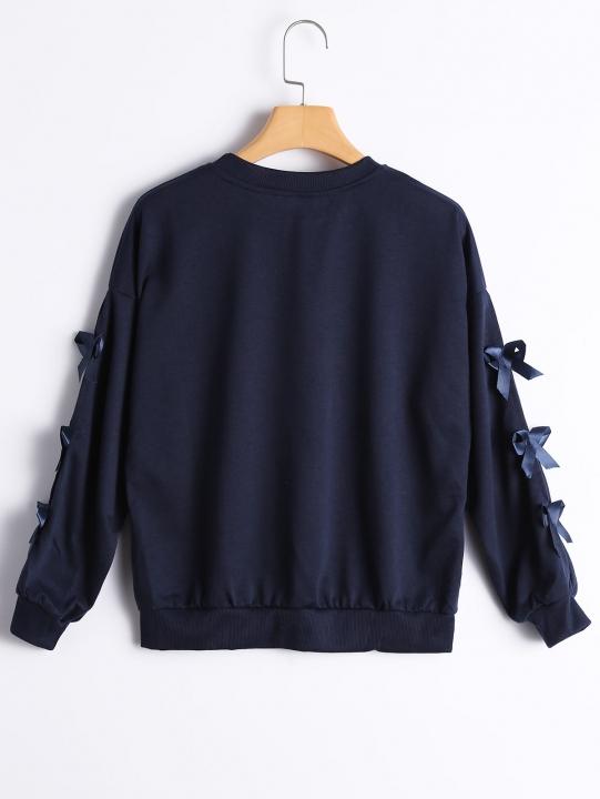 Drop Shoulder Bowknot Embellished Tee XL PURPLISH BLUE