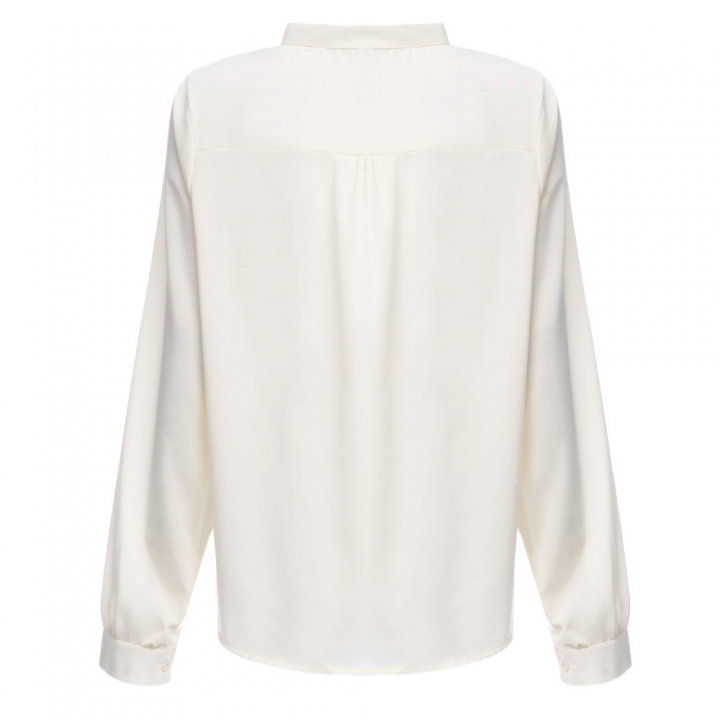 Stylish V-neck Long Sleeve Pure Color Bust Bow Tie Design Blouse for Ladies 2XL OFF-WHITE