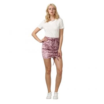 Trendy Criss Cross Lace-up Velvet Women Skirt XS HEATHER VIOLET