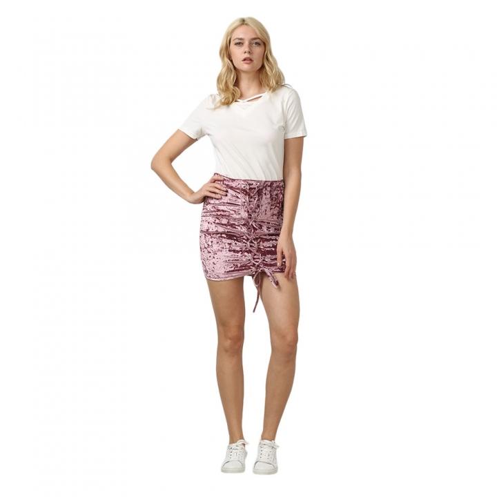 Trendy Criss Cross Lace-up Velvet Women Skirt L HEATHER VIOLET