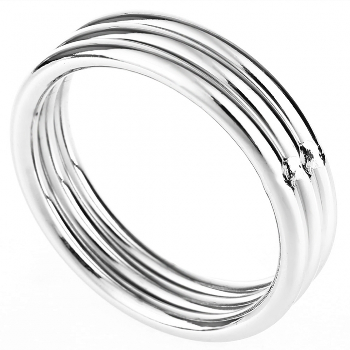 RYSM - 004 Stainless Steel Cockring 3 Loops Stacked Delay Prolong Sex Time for Men default SILVER