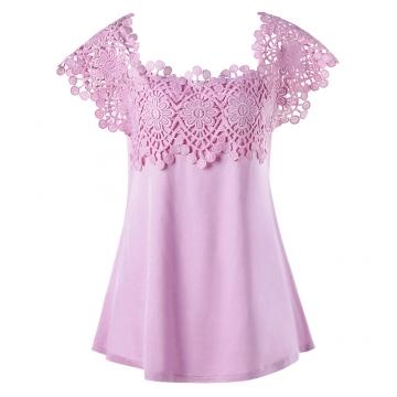 Plus Size Lace Trim Cutwork T-shirt 5XL PINKISH PURPLE