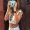 Sexy U-Neck Cap Sleeve Pure Color Backless Bowknot Crop Blouse for Women L WHITE