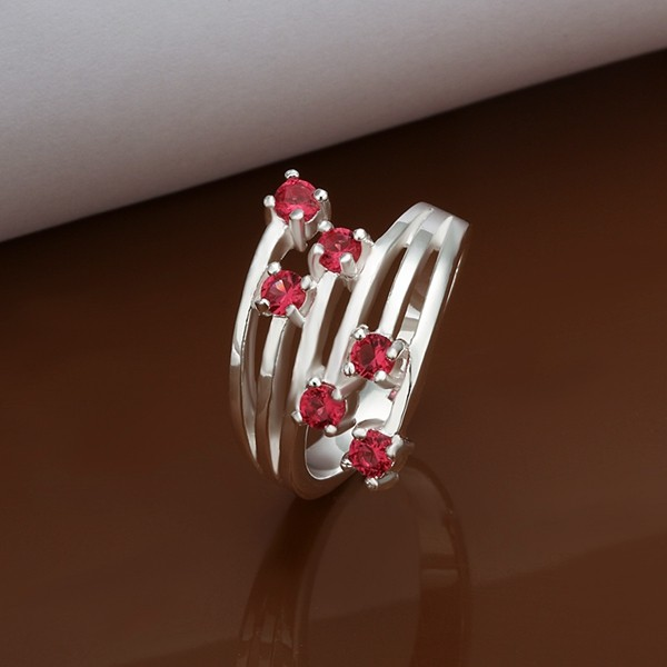 Fashion Red Rhinestone Multi-lines Ring For Girls