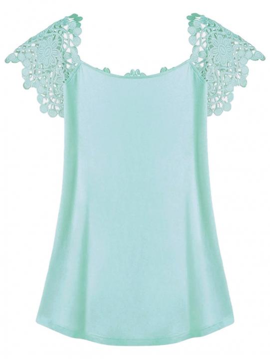 Plus Size Lace Trim Cutwork T-shirt 4XL MINT